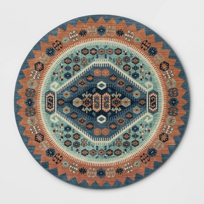 8' Round Buttercup Diamond Vintage Persian Woven Rug Blue - Opalhouse™