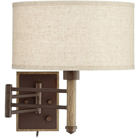 Franklin Iron Works Rustic Farmhouse Swing Arm Wall Lamp Oil Rubbed Bronze Plug-In Light Fixture Oatmeal Linen Drum Shade Bedroom - image 1 of 4