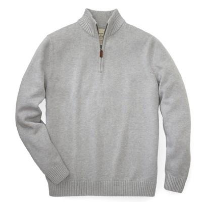 Hope & Henry Mens' Grey Sweater with Quarter Zipper