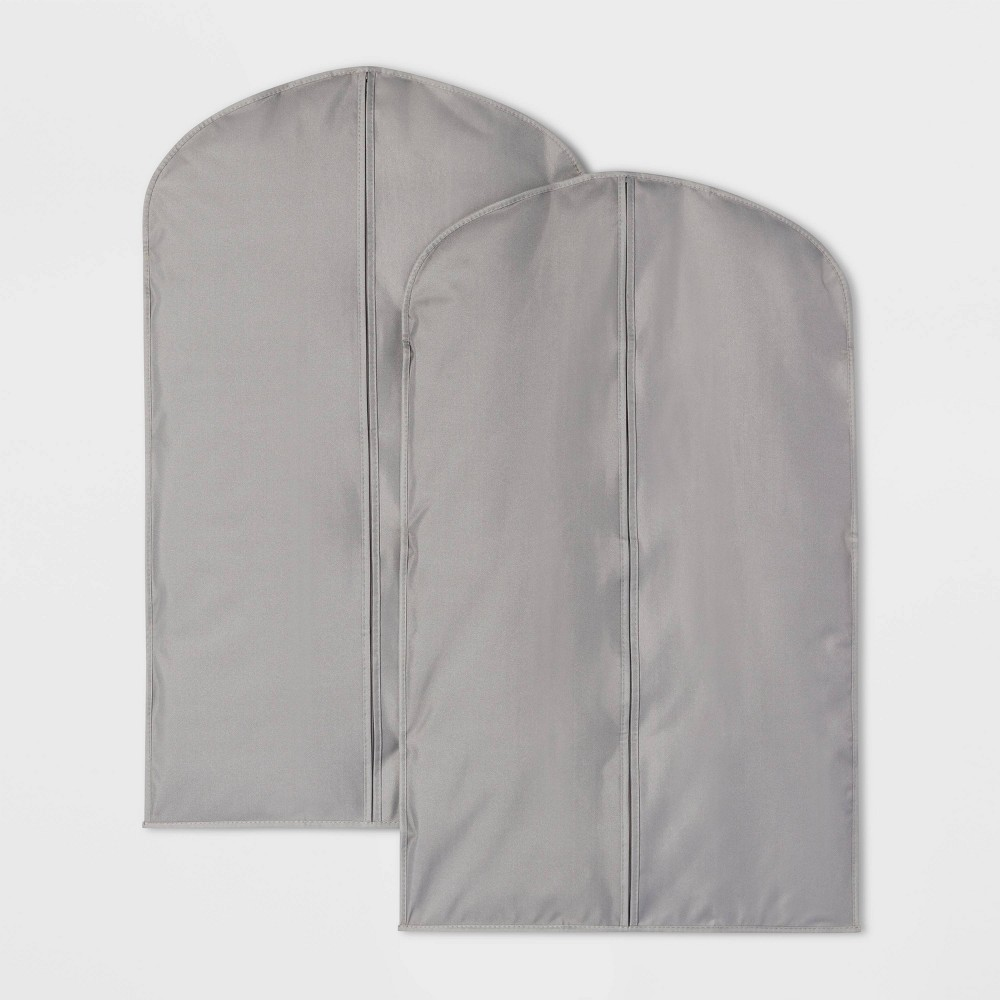 Image of 2pk Suit Protector Garment Bag Gray - Room Essentials