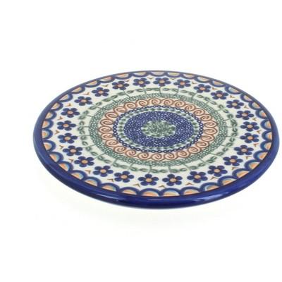 Blue Rose Polish Pottery Aztec Flower Trivet