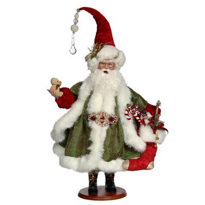 """Mark Roberts Products 26"""" Green and White Santa Filling Stocking Display Figure"""