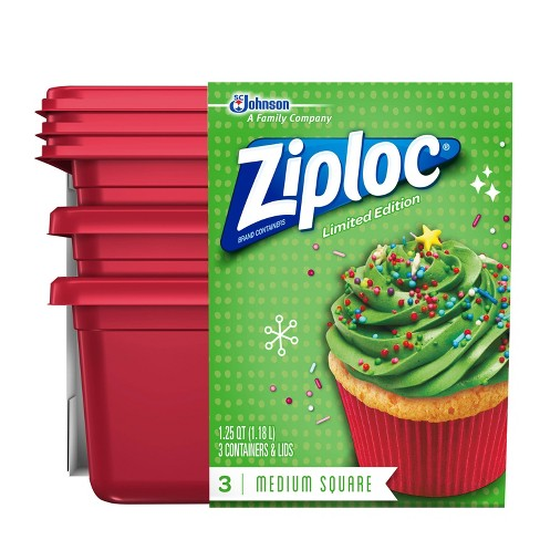 Ziploc Limited Edition Holiday Container - Red - Medium Square - 3ct - image 1 of 4