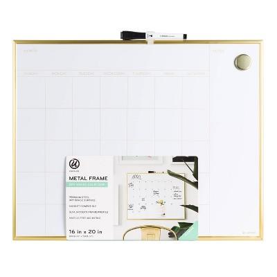 """16"""" x 20"""" Dry Erase Calendar Board - Gold - U-Brands"""