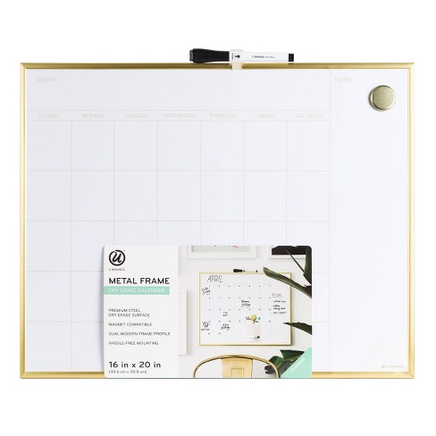 "16"" x 20"" Dry Erase Calendar Board - Gold - U-Brands - image 1 of 4"