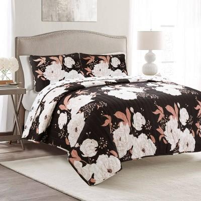 Full/Queen 3pc Zinnia Floral Quilt Set Black/Blush - Lush Décor