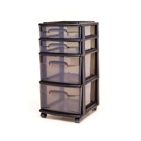 Homz 4-Drawer Medium Rolling Storage Cart - Black with Smoke Drawers - image 1 of 4