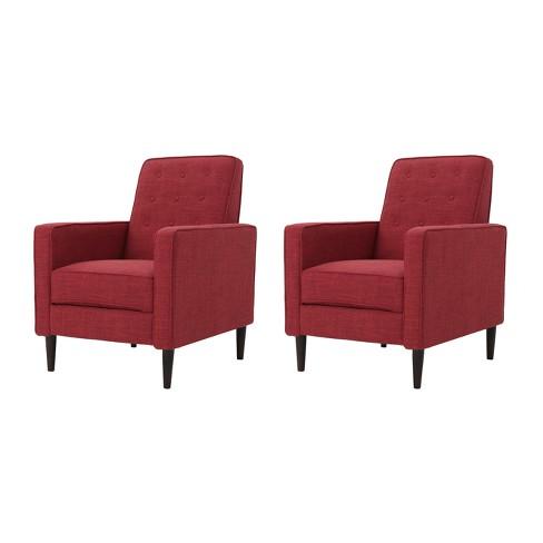 Awe Inspiring Mervynn Mid Century Recliner Modern Red Set Of 2 Christopher Knight Home Uwap Interior Chair Design Uwaporg