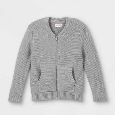 Toddler Boys' Sweater Knit Zip-Up Bomber Jacket - Cat & Jack™ Heather Gray