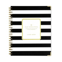 "2020-2021 Academic Planner 8.5""x11"" Matte LGB Weekly/Monthly Wirebound Black/White Stripe - Day Designer"