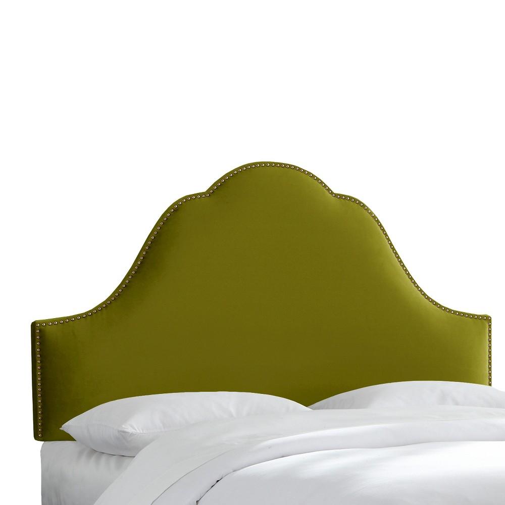 Arch Nail Button Headboard - Apple Green - King - Skyline Furniture