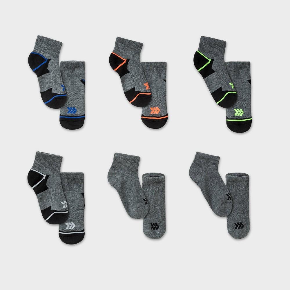 Kids 39 6pk Ankle Length Athletic Socks All In Motion 8482 Gray L
