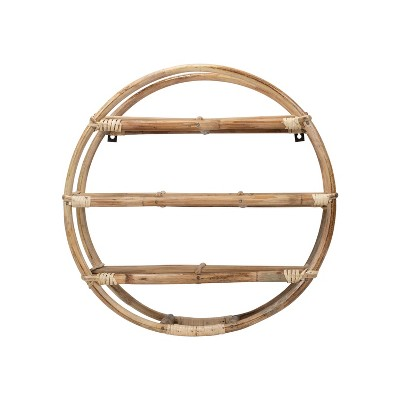 3 Tier 25 inch Diameter Round Rattan Hanging Wall Shelf - Foreside Home & Garden