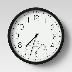 "12"" Round Clock/Thermometer Black - Room Essentials™"