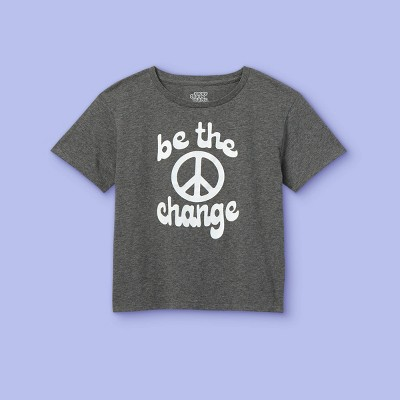 Girls' 'Be The Change' Short Sleeve Graphic T-Shirt - More Than Magic™ Gray