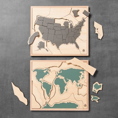 Wooden Puzzles Set of 2 - World/United States of America - Hearth & Hand™ with Magnolia