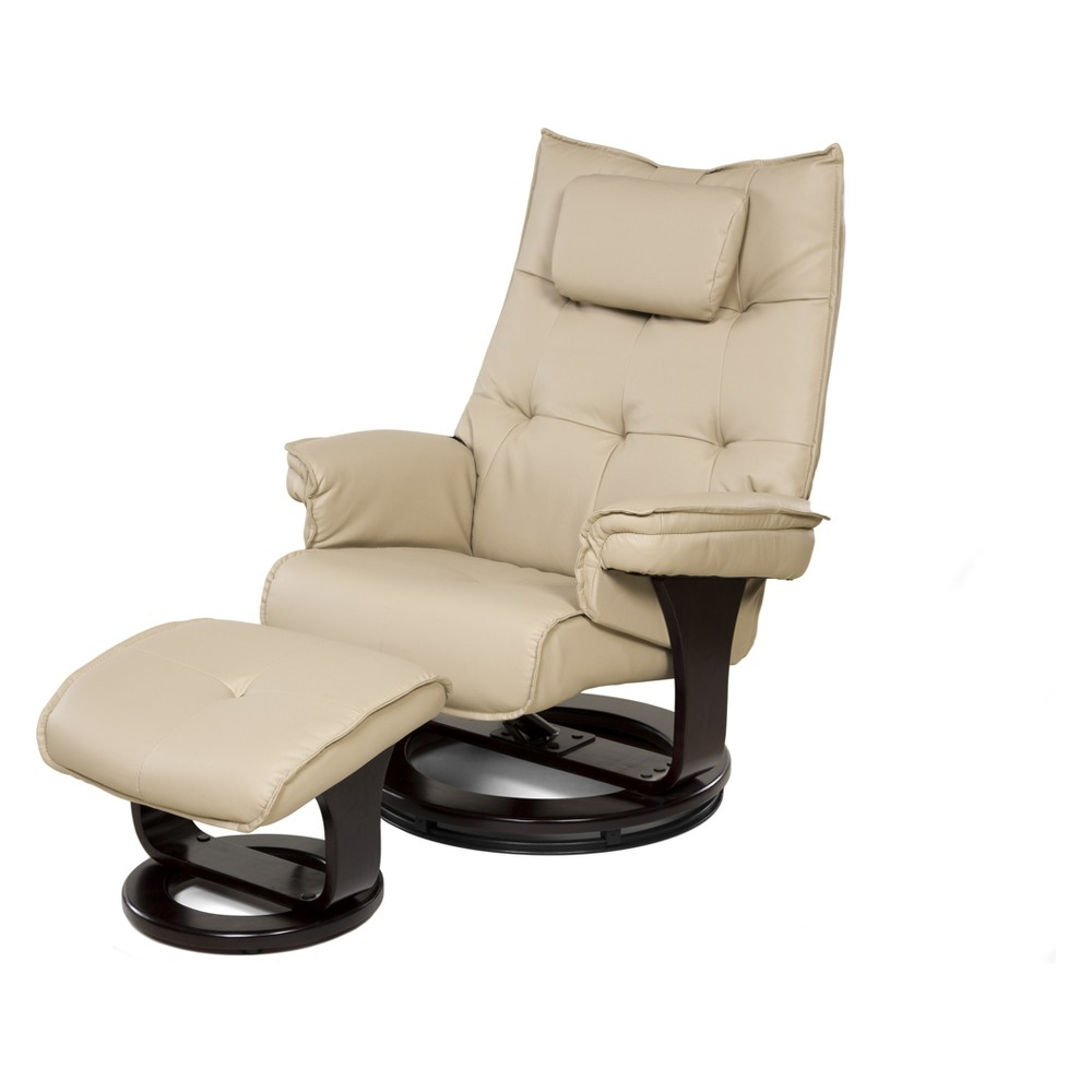 Image of 8 Motor Massage Recliner with Heat And Ottoman Cream - Relaxzen, Ivory
