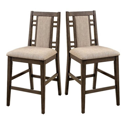 Set of 2 Transitional Counter Height Chairs with Fabric Gray - Benzara - image 1 of 4