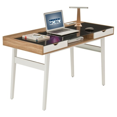 Compact Computer Desk with Multiple Storage Walnut - Techni Mobili - image 1 of 4
