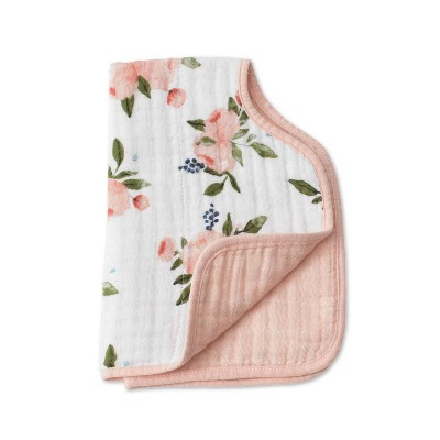 Little Unicorn Cotton Muslin Burp Cloth - Watercolor Roses