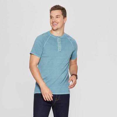 Men's Regular Fit Short Sleeve Henley Shirt - Goodfellow & Co™ Blue Cohosh L