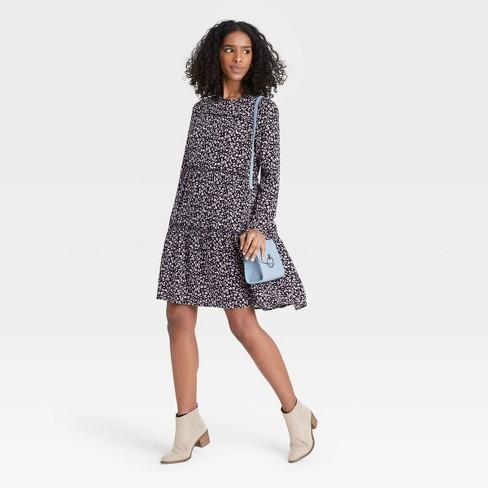 Women's Floral Print Long Sleeve Babydoll Dress - Knox Rose™ - image 1 of 3