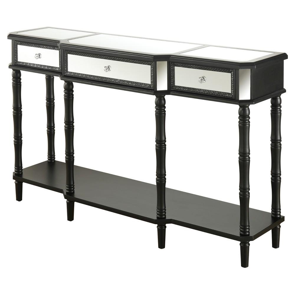 Milan Mirrored Console Table - Black / Mirror - Convenience Concepts
