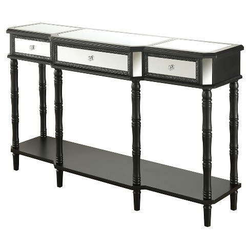 Milan Mirrored Console Table Black Mirror Convenience Concepts