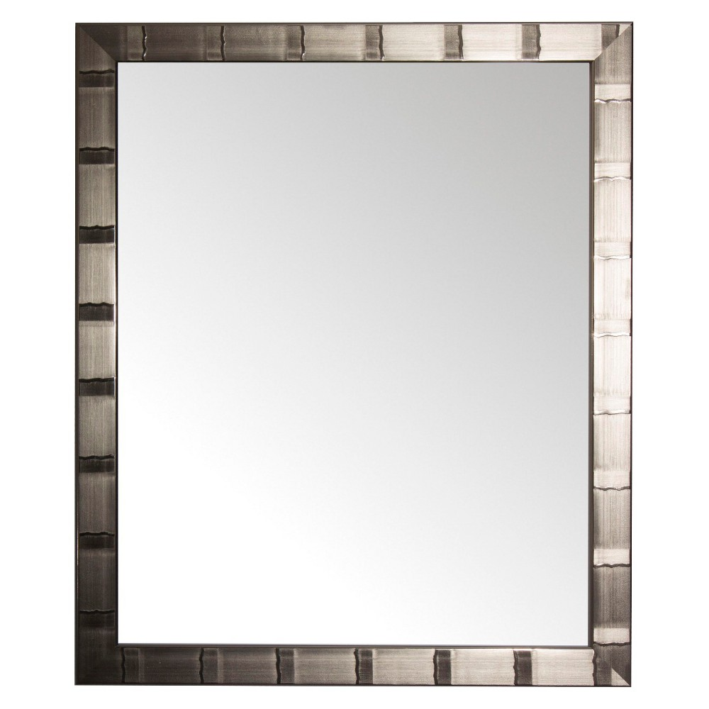 "Image of ""22"""" x 42"""" Creekside Collection Silver Beveled Glass Wall Mirror Silver - Alpine Art and Mirror, Shiney Silver"""