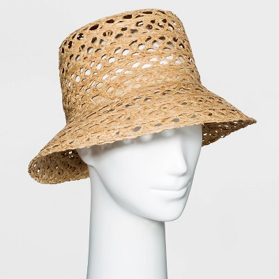 Women's Open Weave Raffia Straw Bucket Hat - A New Day™ - Natural