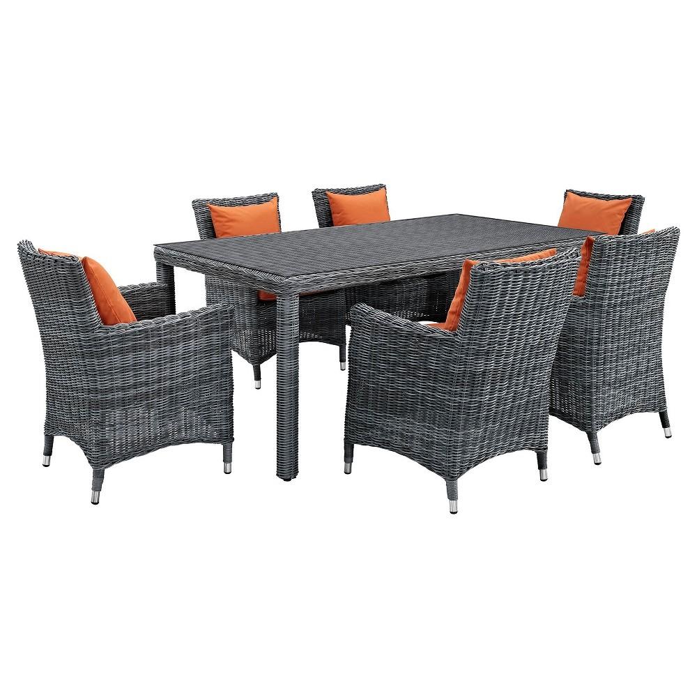Summon 7pc 70 Rectangle All-Weather Wicker Patio Dining Set w/ Sunbrella Fabric - Dark Orange - Modway