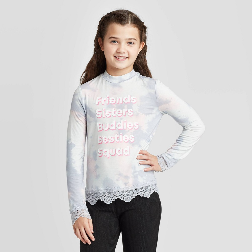 Girls' Long Sleeve Lace Trim Top - art class Blue L, Girl's, Size: Large was $14.99 now $5.99 (60.0% off)