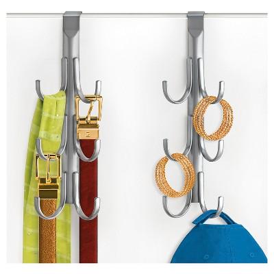 Lynk Over Door Accessory Hanger (Set of 2)- Vertical 6 Hook Rack - Platinum