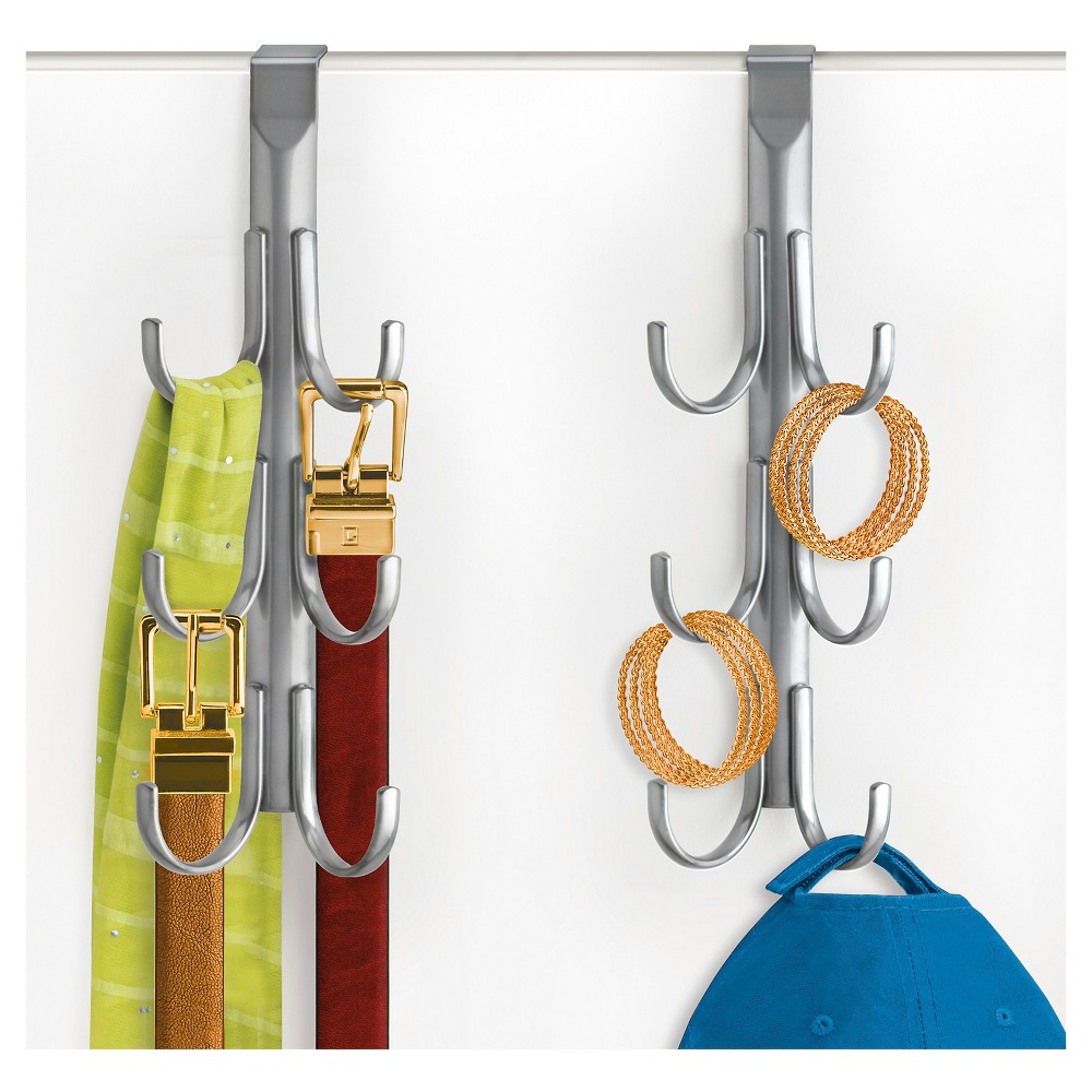 Image of Lynk Over Door Accessory Hanger (Set of 2) - Vertical 6 Hook Rack - Platinum, Light Silver
