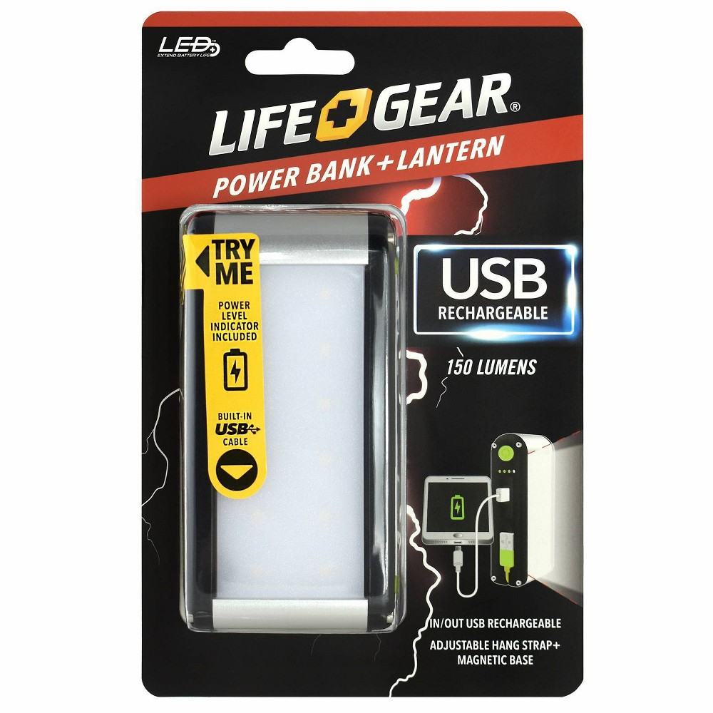 Life Gear 150 Lumens Usb Rechargeable Multi Function Led Lantern Power Bank