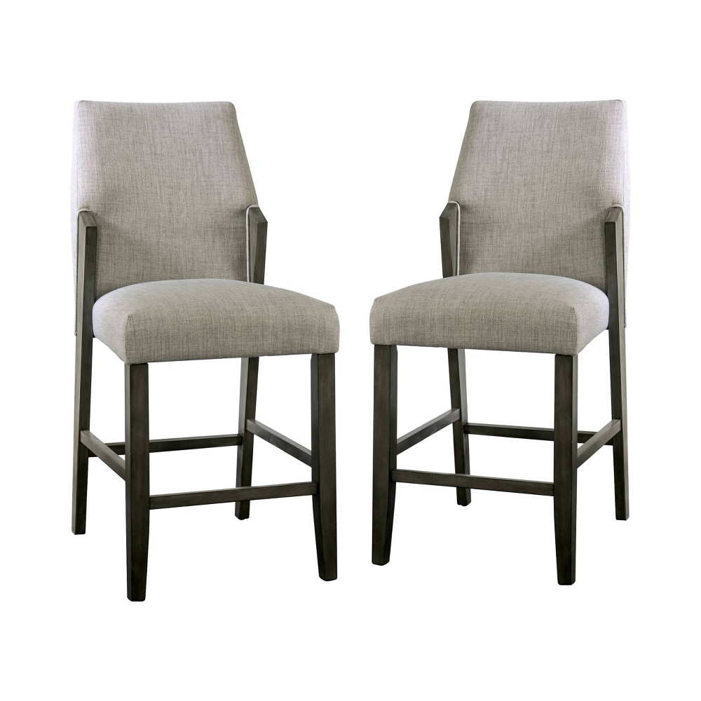 "Image of ""Set of 2 25.5"""" Lesko Upholstered Counter Height Chairs Gray - miBasics"""
