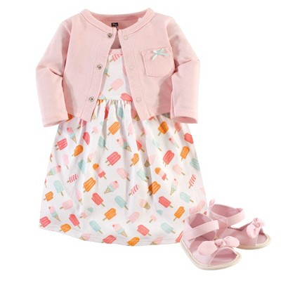 Hudson Baby Infant Girl Cotton Dress, Cardigan and Shoe 3pc Set, Ice Cream