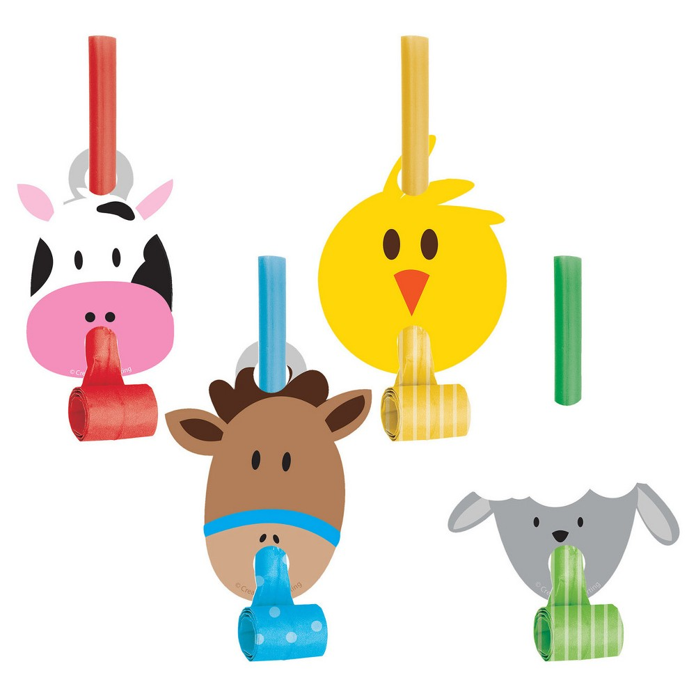 8ct Farm Fun Party Blowers