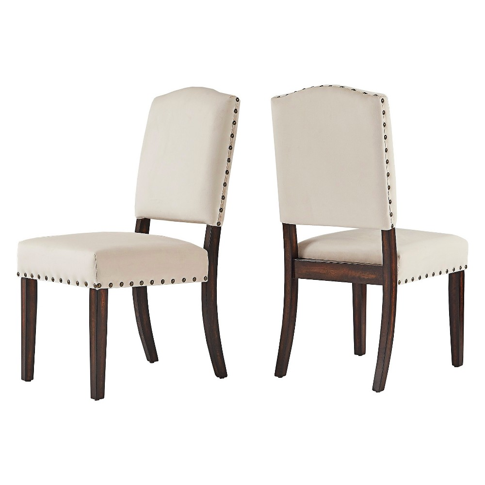 Cobble Hill Velvet Nailhead Dining chair Set of 2 Beige - Inspire Q
