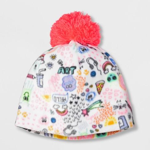 62c6c4cf36e Girls  Doodle Fleece Beanie - Cat   Jack™ Cream   Target