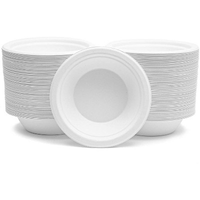 150-Pack 12 Oz White Sugarcane Bagasse Paper Bowls, Dessert Appetizer Serving for Party Catering