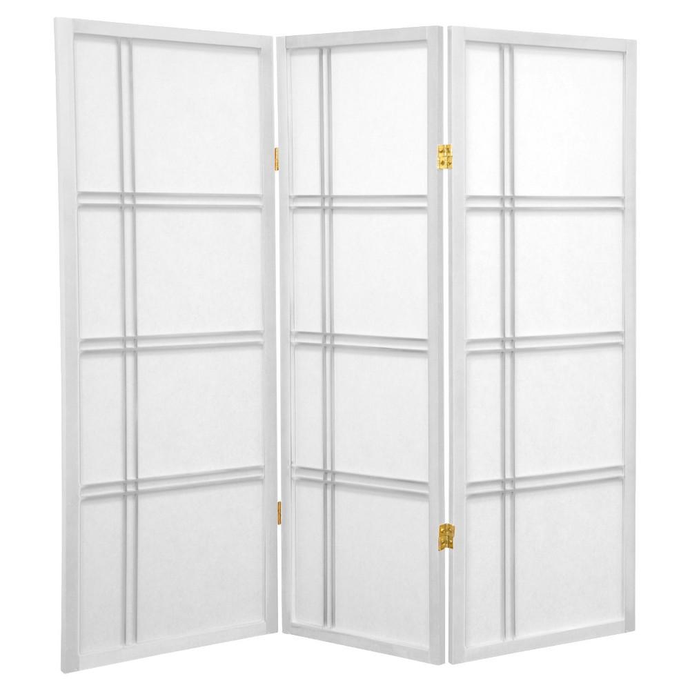 Image of 4 ft. Tall Double Cross Shoji Screen - White (3 Panels) - Oriental Furniture