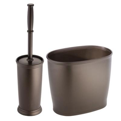 mDesign 2 Piece Plastic Bathroom Set, Bowl Brush and Trash Can