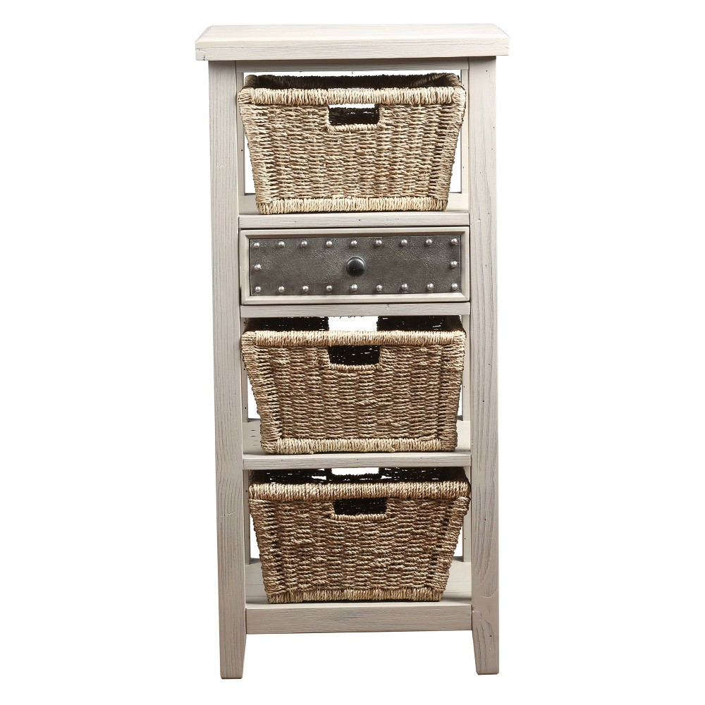 Tuscan Retreat Basket Stand with Three Baskets Taupe (Brown) - Hillsdale Furniture