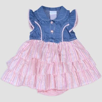 Baby Girls' Denim & Metallic Stripe Dress Nate & Annee™ Blue/Pink 6-9M