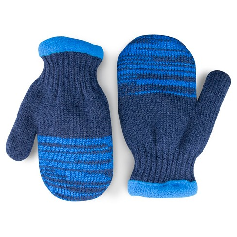 Toddler Boys' Fleece Lined Mittens - Cat & Jack™ Nightfall Blue - image 1 of 1