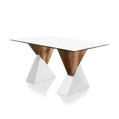 Cavalon Double Pedestal Dining Table White - miBasics