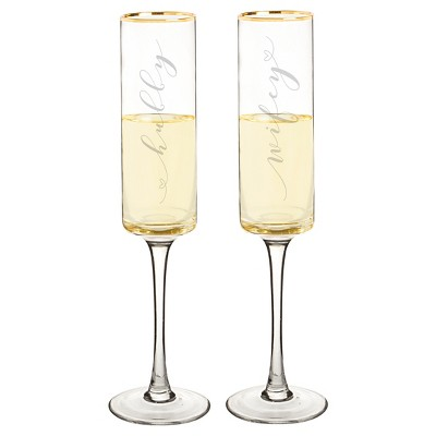 2ct  Wifey & Hubby  Gold Rim Champagne Flutes