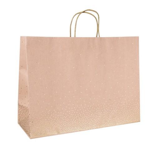 Scattered Foil Star Dotted Medium Gift Bag Brown - Spritz™ - image 1 of 1