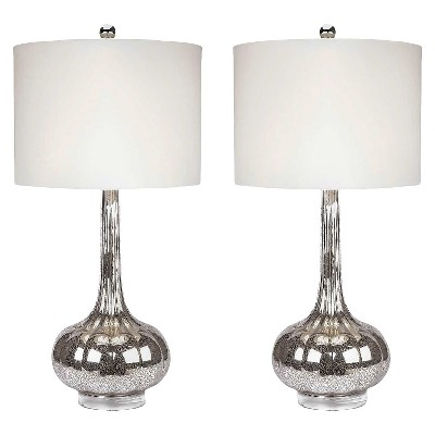 Set of 2 Michelle Antique Glass Table Lamp Silver - Abbyson Living